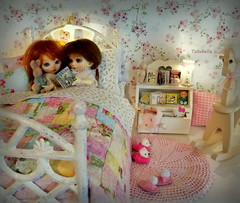 Bedtime Story (TutuBella) Tags: fairyland pukifee dolls sprout emmi sweet sisters bedtime storytime bedroom slippers toys books quilt tinybjd needledfeltedbunny rockinghorse