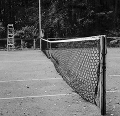 "tennis court in Wallonie (Sailing ""Footprints: Real to Reel"" (Ronn ashore)) Tags: tennis sports tenniscourt abandoned bw game rolleiflextlrf28schneiderkreuznachxenotar80mmf28 milforddeltainxtol film belgium square 6x6 blackandwhite classiccameras"