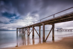 Capture two jetties for the price of one... (Chas56) Tags: jetty jetties beach sea ocean water landscape seascape sunrise morning clouds pier piers two canon canon5dmkiii ngc sand structure structures longexposure ndfilter