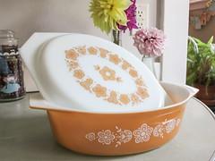 butterfly gold casserole (jojoannabanana) Tags: home kitchen dahlias pyrex canonpowershot s100 butterflygold vintagepyrex