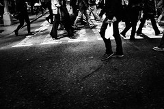 somewhere in times square (bendikjohan) Tags: life street new york city nyc people urban bw white ny black streets america square photography blw manhattan candid united 1600 zebra neopan times states 40mm bnw crossings bl