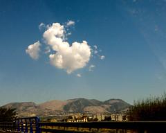 Una nube que se ha escapado (Micheo) Tags: blue sky azul cielo nube a44 autovia drivebyshoot clouid