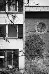 outdoor school / school in nature Volyně (ondey) Tags: blackandwhite bw house building art architecture ruin stainedglass ruina diningroom dům architektura stavba outdoorschool budova umění jídelna vitráž volyně školavpřírodě areál schoolinnature vevolyni ladislavkonopka architektkonopka