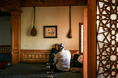 People in the tea house, Kashgar old city (inchiki tour) Tags: travel people tea snapshot uighur xinjiang silkroad kashgar  uyghur traveling centralasia  kashi teahouse chai  arabesque chay  2015  qay      doppa  chayhana    duttar  qayhana