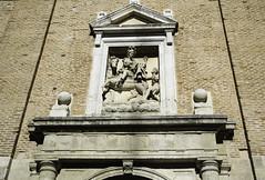St Martin helps the Beggar (Lawrence OP) Tags: sculpture horse stone martin saints beggar valladolid cloak stmartinoftours