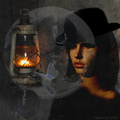 Attracted to the light (Lemon~art) Tags: mannequin lamp hat butterfly moth manipulation bowlerhat spheres attraction