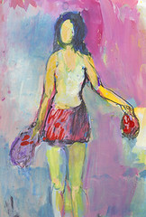 ready for the beach (amaradacer) Tags: painting acrylic canvas art woman dress beach figurative abstract pink yellow red fashion mixedmedia impressionist female person figure body skirt handbag contemporary modern design
