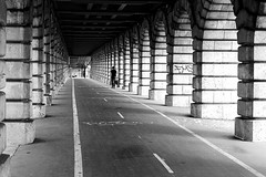 Along the cycle track (pascalcolin1) Tags: paris13 pont pontdebercy bridge piste pistecyclable cycletrack homme man photoderue streetview urbanarte noiretblanc blackandwhite photopascalcolin