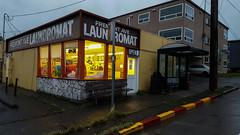 Fremont. ([Gaston].) Tags: seattle fremont washington laundromat street busstop rain pacificnorthwest pnw city architecture