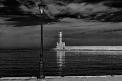 Old Lighthouse (T.Seifer) Tags: architektur architecture blackandwhite bw blackwhite black building lighthouse d610 chania crete fx greece leuchtturm nikon habor monochrome old port photography reisefotografie schwarzweis sp tamron2470 travel whiteandblack whiteblack weisschwarz white wolken