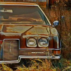 Pontiac _4807 HSS _0824 (Barrie Wedel) Tags: hss sliderssunday overprocessed pontiac rusted automobile vehicle abandonded parked pasqua saskatchewan canada digitalart iphone5c prisma