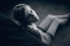 The Grey Sweater (valerio magini photographer) Tags: portrait woman indoor bed room sweater grey blackandwhite
