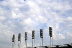 The lights are off for now at Progressive Field. (apardavila) Tags: postseason wordseries ballpark baseball clevelandindians lights majorleaguebaseball mlb progressivefield sports stadium worldseries