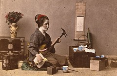 woman playing Japanese 3-string guitar [shamisen] ca1870 (SSAVE w/ over 6.5 MILLION views THX) Tags: japan japanese customs costumes culture 1870