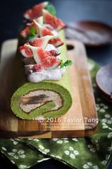 Matcha Chestnut Cakeroll (TailorTang) Tags: matcha greentea chestnut marron cakeroll rollcake food foodphotography stilllife 50mm 5014 fig mintleaf cherryblossom japanesedessert