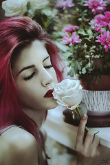 Selfportrait with flowers. (Megan Glc Photographe) Tags: selfportrait flowers pink pinkhair hair girl beauty sad face portrait garden roses fantasy sweet dream sweetness fairy fairytale tale magicmoments
