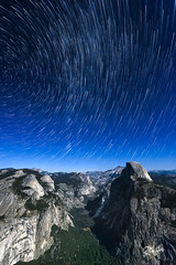 Half dome trails (Riccardo Maria Mantero) Tags: clouds mantero riccardomantero riccardomariamantero astronomicphotography blue california canyon landscape night outdoors sky stars startrail travel usa yosemite