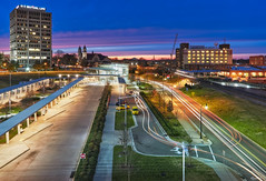 Hub Life (shanahanphotography) Tags: landscape sunset busstation trainstation city cityscape downtowndurham longexposure nc beauty lighttrails bluehour clouds beautiful raleigh pink magichour bus northcarolina pinkminutes goldenhour yellow firstinflight durham