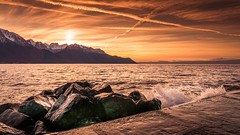 SPLASH PROOF (Jeton Bajrami) Tags: montreux suisse switzerland lake leman geneva vevey float water eau bateau boat colors colored coloré couleurs sunset coucherdesoleil golden hour sky ciel perfect art2016 art 2016 sony alpha a77ii 77ii markii 1650mmssm landscape lakescape paysage wouaouhh beautiful