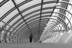 Wormhole (Daniel Nebreda Lucea) Tags: black white architecture arquitectura modern moderno urban urbano path paso camino bridge puente shapes formas composition composicion city ciudad canon man hombre repetition repeticion many muchos texture textura lines lineas curves curvas building edificio construccion structure estructura zaragoza aragon spain monochrome street calle light luz shadoes sombras travel viajar motion movimiento minimal minimalismo minimalisme 50mm 60d 2016 year elitegalleryaoi bestcapturesaoi