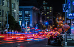 bush street jumble (pbo31) Tags: sanfrancisco california nikon d810 color november 2016 fall boury pbo31 city lightstream traffic motion roadway black night dark pacificheights bushstreet vannessavenue infinity jumble
