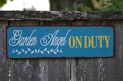 On Duty (s.d.sea) Tags: summer sign angel fence garden washington pentax july pnw issaquah sammamish klahanie k5ii