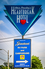 A sign advertises Elvis Presleys Heartbreak Hotel on Elvis Presley Boulevard in Memphis Tennessee. (CarmenSisson) Tags: usa sign typography hotel memphis tennessee lodging presley graceland touristattraction elvispresley heartbreakhotel