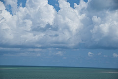 Out to Lunch in the Florida Keys (PoetC7) Tags: blue sky gulfofmexico water birds clouds florida mangroves floridakeys seabirds fishingtrip helicopterpad