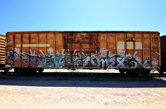 (o texano) Tags: bench graffiti texas houston trains sluts freights omex benching