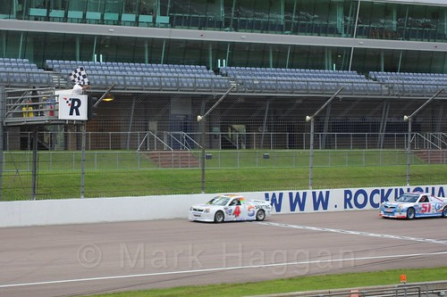 Pete Stevens leads Freddie Lee in Pick Up Truck Racing, Rockingham, Sept 2015