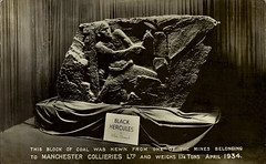 Alan Brough, Manchester Collieries coal carving, postcard 1934 (Pitheadgear) Tags: uk greatbritain blackandwhite bw sculpture monochrome pits mono mine pit lancashire mining geology carbon coal miner miners colliery greatermanchester collieries cityofsalford manchestercollieries coalcarving