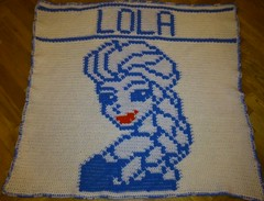 ELSA BLANKET FOR LOLA (dochol) Tags: chart cute wool frozen handmade name crochet craft graph disney yarn blanket afghan alphabet elsa manta personalised croche crochethooks haakenwert