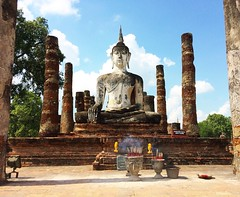 Sukhothai, Thailand (Ben F McManus) Tags: trip travel thailand shrine asia candle buddha explore burning sukhothai