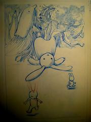 la lapine (mc1984) Tags: rabbit nature dessin chou draw arbre limace mc1984 lapine aleister236 pikook