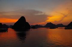 Halong Bay at Sunset (jessica.fenton23) Tags: halong bay mountain nature vietnam
