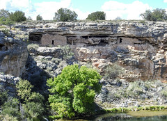 cliff dwellings along one rim of the well (aurospio) Tags: arizona montezumawell cenote verdevalley sinkhole cliff cliffdwelling sinagua yavapai