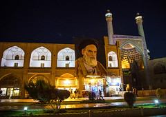 Khomeini poster near the shah mosque on naghsh-i jahan square, Isfahan province, Isfahan, Iran (Eric Lafforgue) Tags: ancient architecture buildingexterior colorimage day esfahan famousplace glorification hero hispahan history horizontal incidentalpeople iran iranianculture isfahan ispahan khomeini memory middleeast minaret mosque mural naghshijahan night outdoors paint painted painting people persia persianculture photography propaganda religion sepahan square travel traveldestinations unescoworldheritagesite isfahanprovince ir