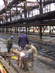 Pipe processing-3 (algimantas_tirlikas) Tags: building chimney construction crane montage mounter pipeline pipes rafinery workman work outdoor