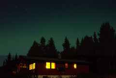 October night at the cottage with a touch of Northern Light. (JRJ.) Tags: norway norge valdres northernlight auroraborealis nordlys hytte natt landskap