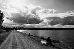 KLLT6548_S (Konrad Lembcke) Tags: europe rural landscape nature lake village life barbecue black white monochrome fuji x vacation travel rest break minimal lithuania litauen baltikum baltic state eastern gravel dirt road cloud simple escape