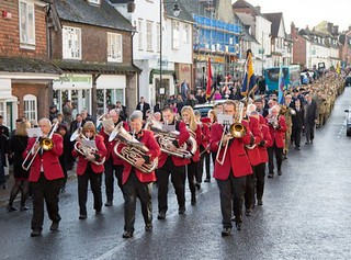 The band lead the parade from the town centre to the War Memorial.