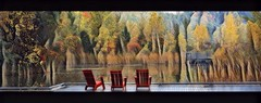 Pond pano (Beaches Marley.....offline a lot) Tags: brickworks toronto impressionism landscape autumn red chairs ipad