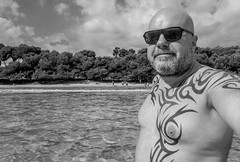 Tattoos at the seaside. (CWhatPhotos) Tags: cwhatphotos camera photographs photograph pics pictures pic picture image images foto fotos photography artistic that have which contain with olympus four thirds 43 spanish spain mallorca majorca island october 2016 weather selfee selfie portrait mono face body upper tattoo tattooed tatts tribal inked sea water coast beach pose
