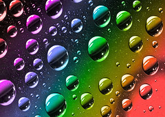Coloured Droplets (Spence..) Tags: spence angspence canon canon5dmkiii canon24105l indoors focus background photoshop shadows highlights colour blue water oil droplets gradient red glass reflections yellow green purple perspex wax
