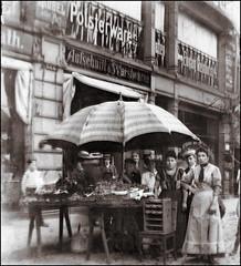 Fruit Stand (ookami_dou) Tags: vintage fruitstand market fruit vendor trade schülermütze