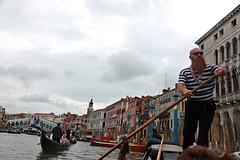 Venice, gondola on Grand Canal (Kurtsview) Tags: italy venice gondola gondolier canal water architecture bridge people