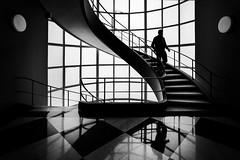 The Descent II (BW Photography by CS) Tags: stairs descent silhouette geometry human