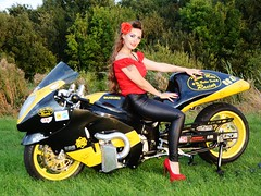 Holly_9539 (Fast an' Bulbous) Tags: long brunette hair red shoes high heels stilettos leather jeans leggings girl woman pinup model hot sexy hotty chick babe bike biker motorcycle suzuki hayabusa turbo drag fast speed power england euro finals beauty people outdoor