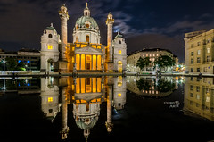 Perfect reflection (Stefano Laurita) Tags: vienna austria architecture church nikon sigma night