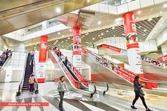 Singapore 2016: Dhoby Gaut Underground Train Station (Wing Yau Au Yeong) Tags: architecture commute commuters crowd crowded dhobygaut escalators mrt pillars singapore subway train trainstation transport underground sg